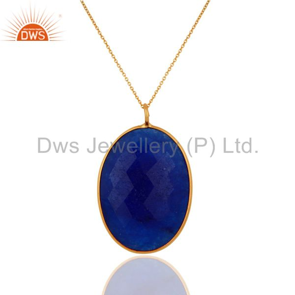 18K Yellow Gold On Sterling Silver Blue Aventurine Bezel Set Pendant With Chain