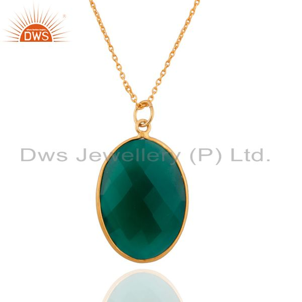 24K Yellow Gold Plated Sterling Silver Green Onyx Bezel Set Pendant With Chain