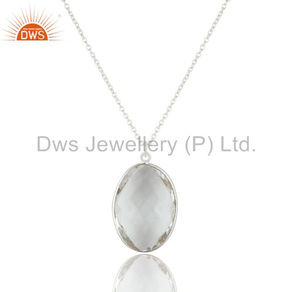 Sterling Silver and Oval Shape Crystal Quartz Gemstone Handmade Necklace