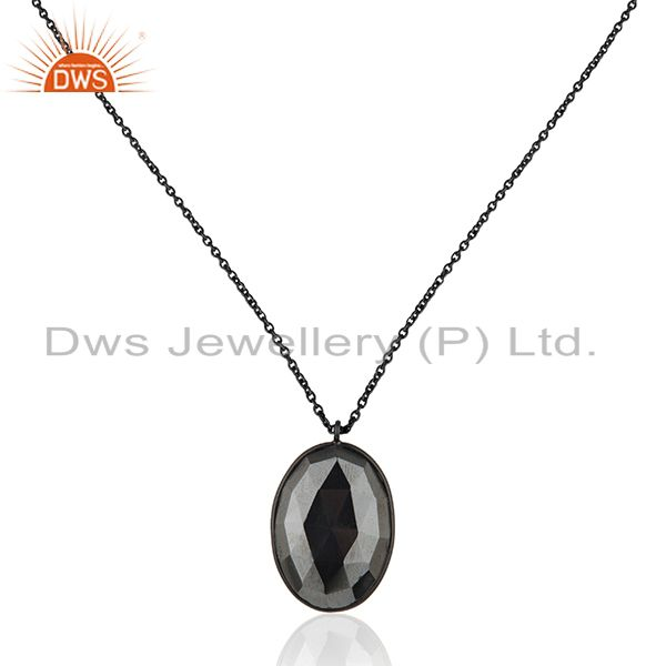 Hematite Gemstone Black Rhodium Plated 925 Silver Chain Pendant Supplier India