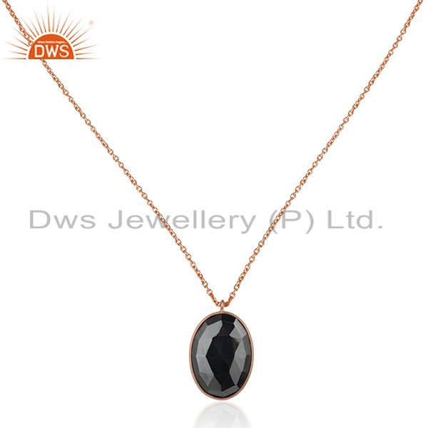 Rose Gold Plated 925 Silver Hematite Gemstone Chain Pendant Manufacturer India
