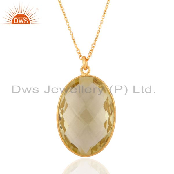 "Lemon Topaz 18K Gold GP Sterling SIlver Pendant With 16"" In Chain Necklace"