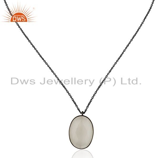 White moonstone black rhodium plated 925 silver chain pendant wholesale