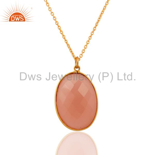 Sterling Silver Faceted Rose Chalcedony Gemstone Pendant With Chain -Gold Plated