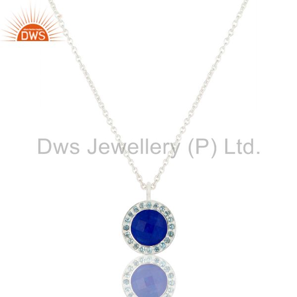 Blue Aventurine and Blue Topaz Sterling Silver Gemstone Pendant with Chain
