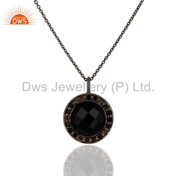Black Onyx And Smoky Quartz Pendant Necklace In Oxidized Sterling Silver