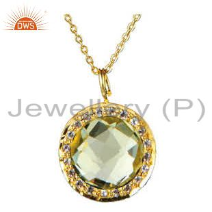 14K Gold Plated Sterling Silver Lemon Topaz And White Topaz Pendant With Chain