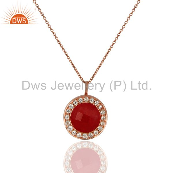 18K Rose Gold Plated Sterling Silver Red Aventurine & White Topaz Pendant
