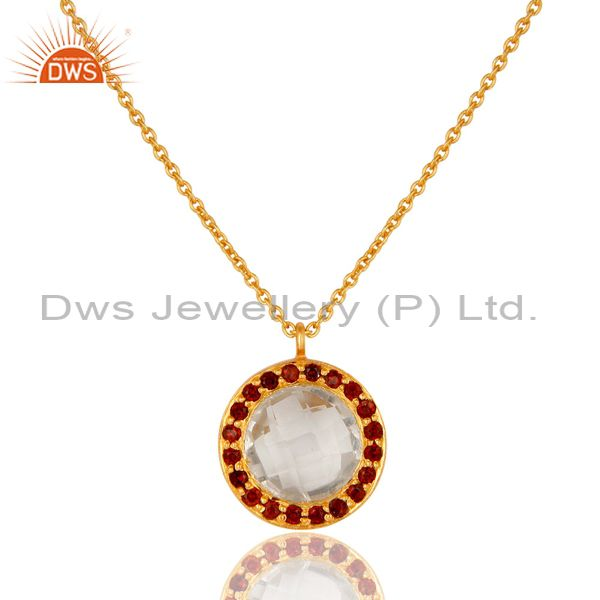 18K Yellow Gold Plated Sterling Silver Crystal Quartz & Garnet Pendant Necklace