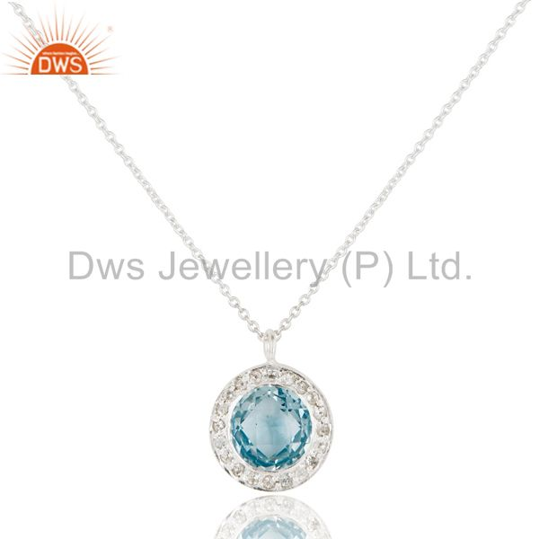 Blue Topaz & White Topaz Gemstone Chain Pendant With Solid 925 Sterling Silver