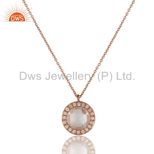 18k rose gold plated silver crystal quartz and white topaz pendant with chain
