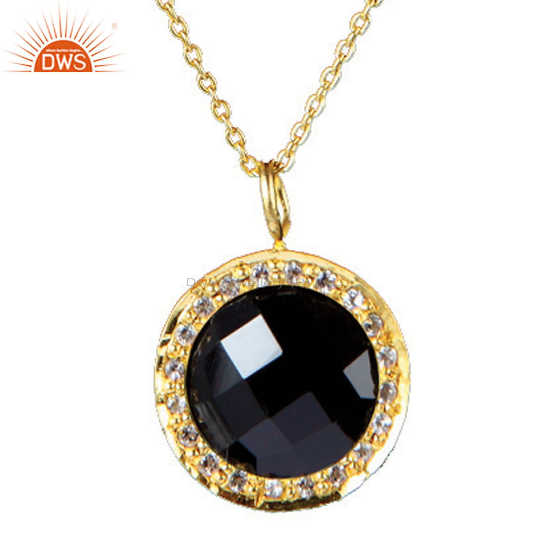 18k yellow gold over silver black onyx and white topaz pendant with chain