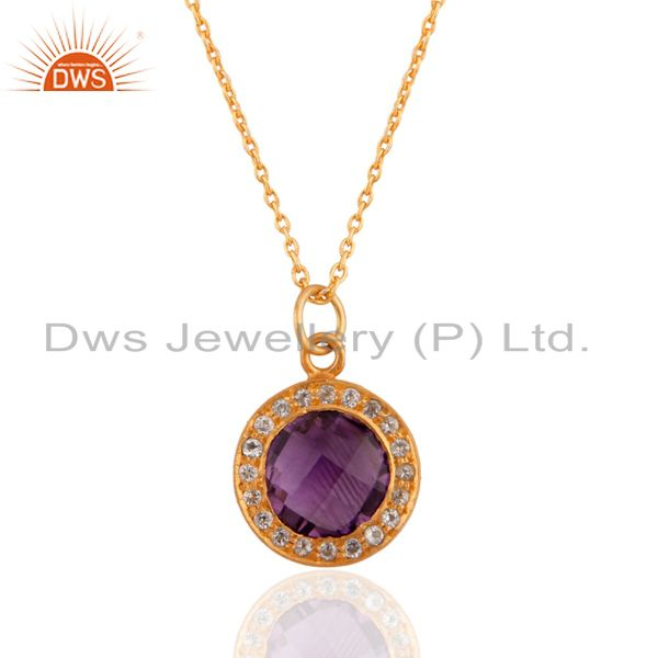 22k yellow gold plated sterling silver amethyst and cz halo pendant with chain
