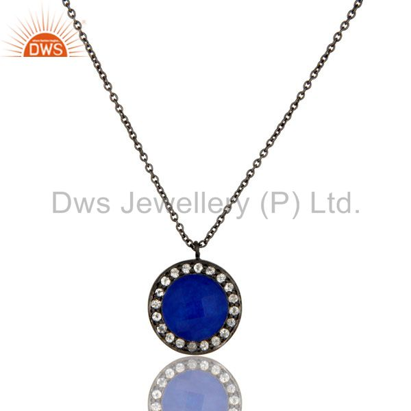 Oxidized Sterling Silver Blue Aventurine And White Topaz Pendant With Chain