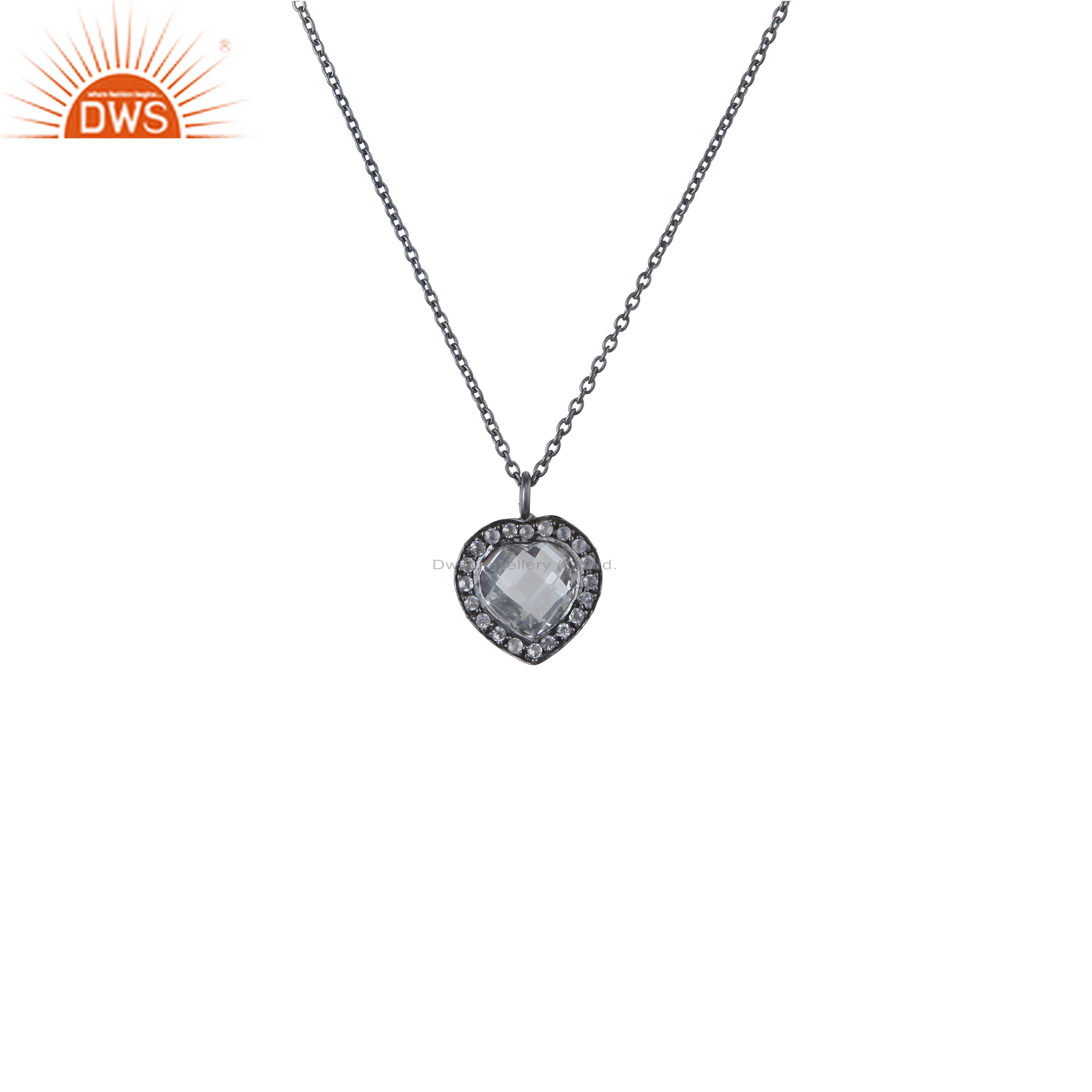 Oxidized sterling silver crystal quartz and white topaz heart pendant with chain