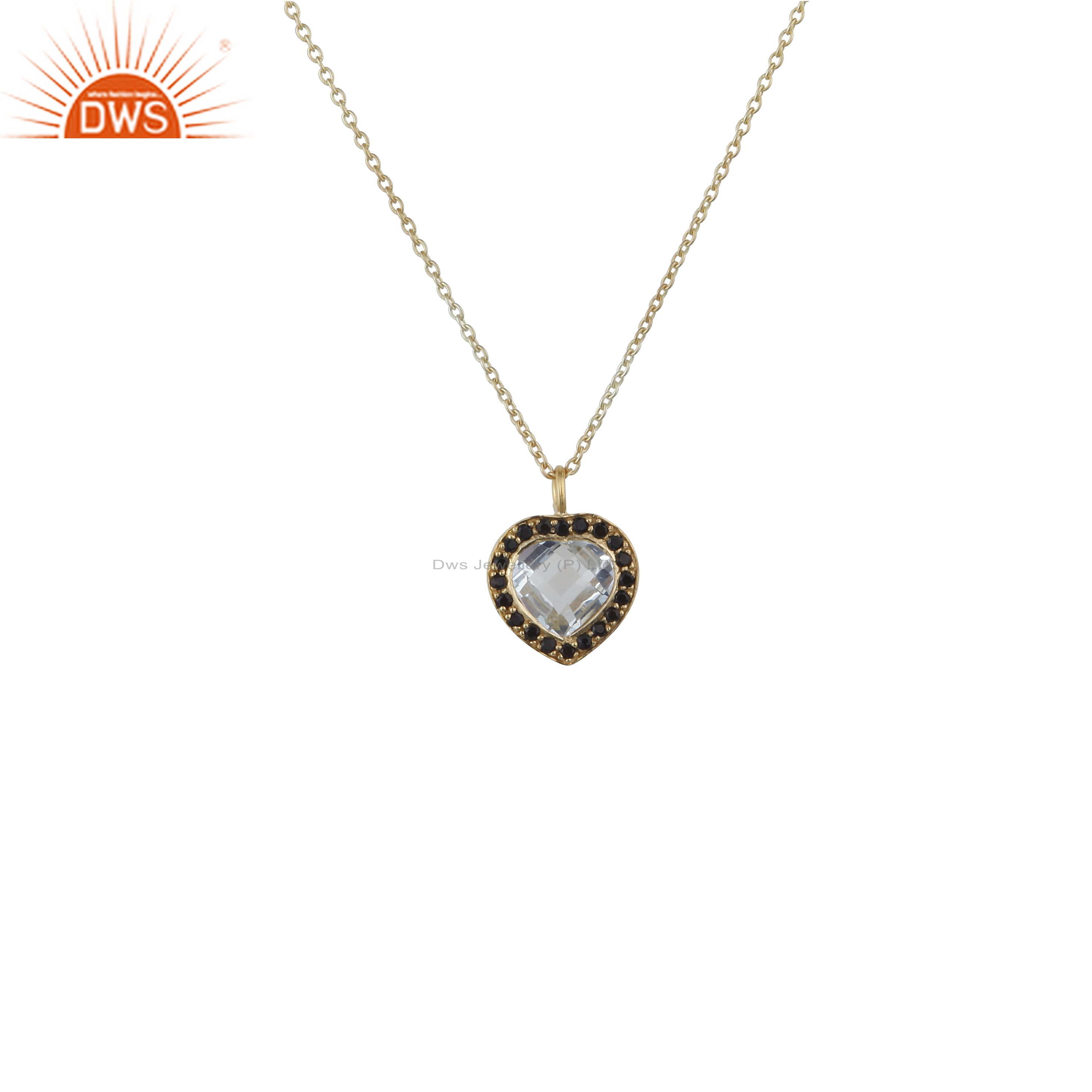 18k gold plated sterling silver crystal quartz and white topaz pendant necklace