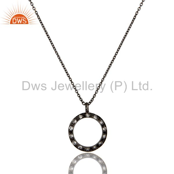 925 Sterling Silver With Oxidized White Topaz Open Circle Pendant With Chain