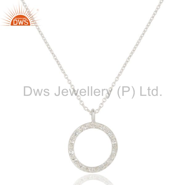 925 Sterling Silver White Topaz Gemstone Circle Pendant With Chain Necklace