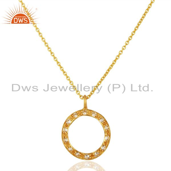 18K Yellow Gold Plated Sterling Silver White Topaz Circle Pendant With Chain