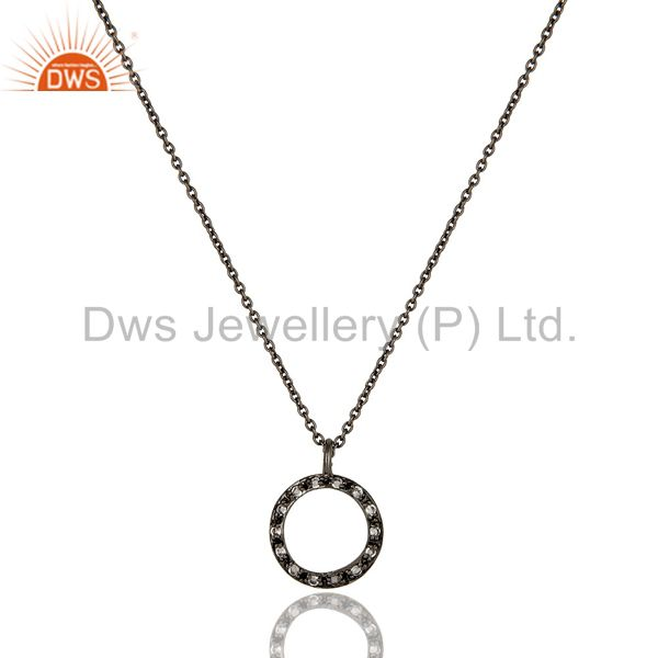 Sterling silver white topaz circle designs pendant necklace with black oxidized