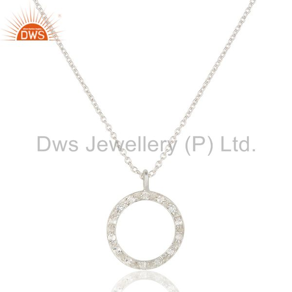"925 Sterling Silver White Topaz Gemstone Circle Designs Pendant 17"" In Chain"