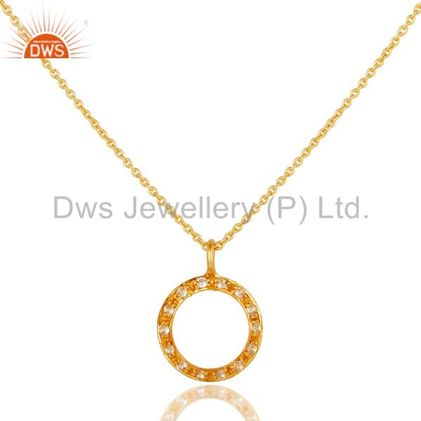 Sterling Silver White Topaz Circle Designs Pendant Necklace With 18k Gold Plated