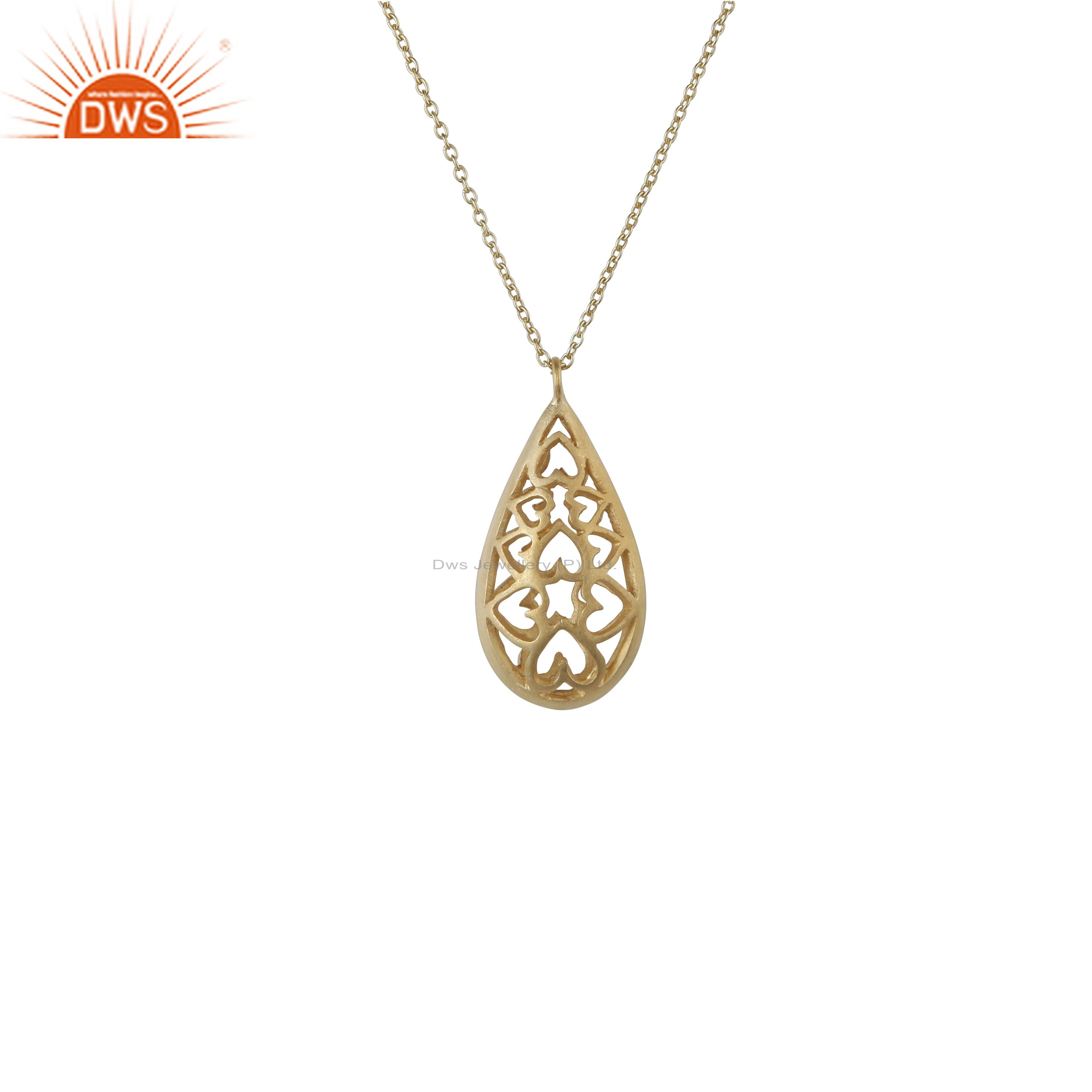 14k yellow gold plated sterling silver heart designer drop pendant with chain