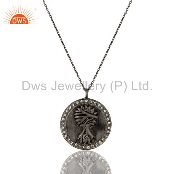 925 sterling silver with oxidized white topaz vintage coin pendant with chain