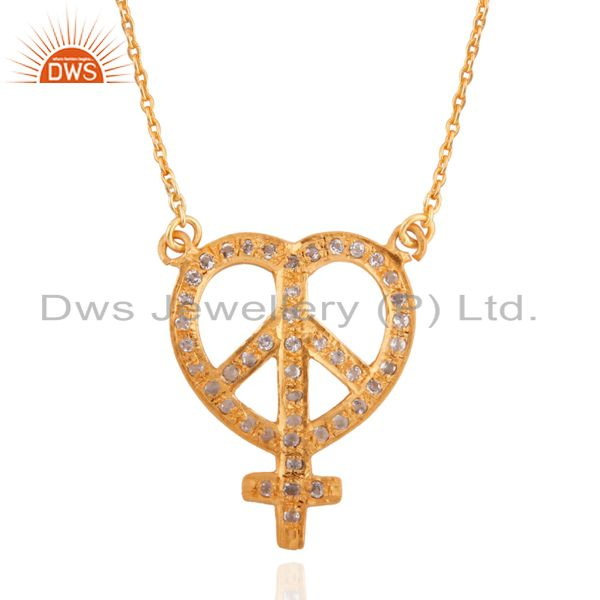 22k yellow gold plated sterling silver white topaz peace sign designer necklace