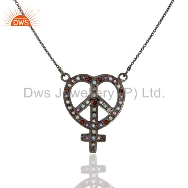 Oxidized sterling silver multi gemstone heart, ankh & peace sign pendant chain