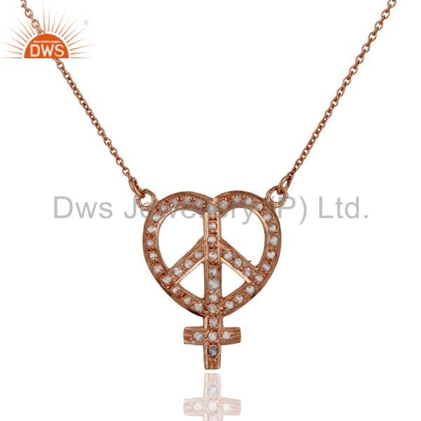 18k rose gold plated sterling silver white topaz peace sign pendant necklace