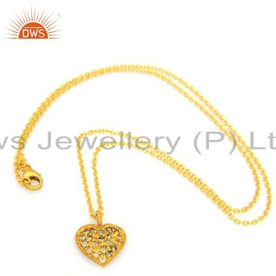 18K Gold Plated Sterling Silver White Topaz Heart Designer Pendant With Chain