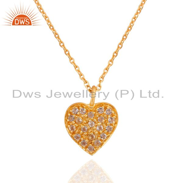 18K Yellow Gold Plated Sterling Silver White Topaz Heart Pendant With Chain