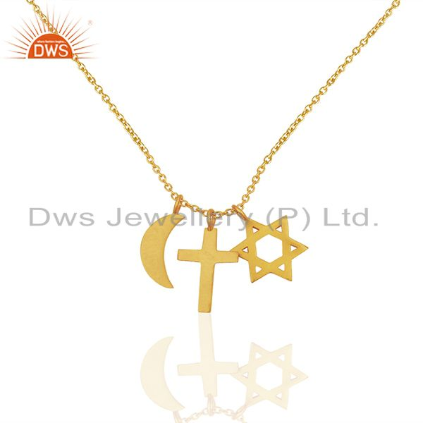 18K Yellow Gold Plated Sterling Silver Cross, Half Moon And Star Charm Necklace