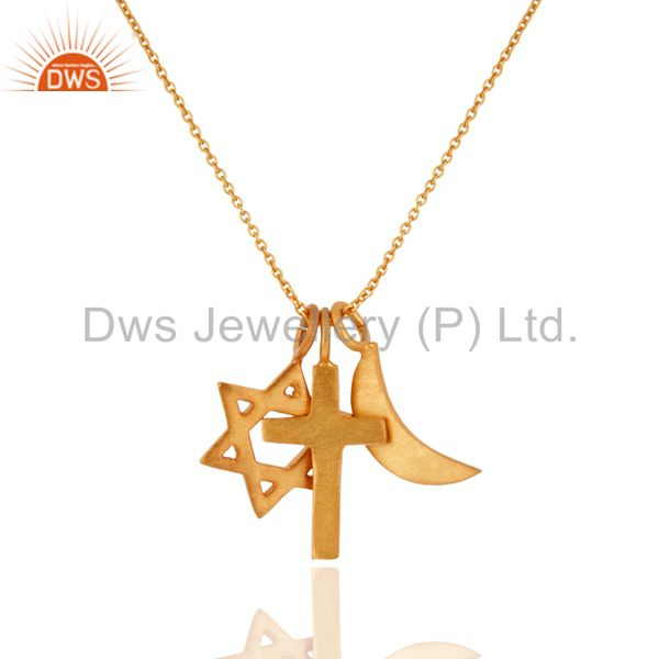 18K Yellow Gold Plated Sterling Silver Cross, Half Moon And Star Charms Necklace