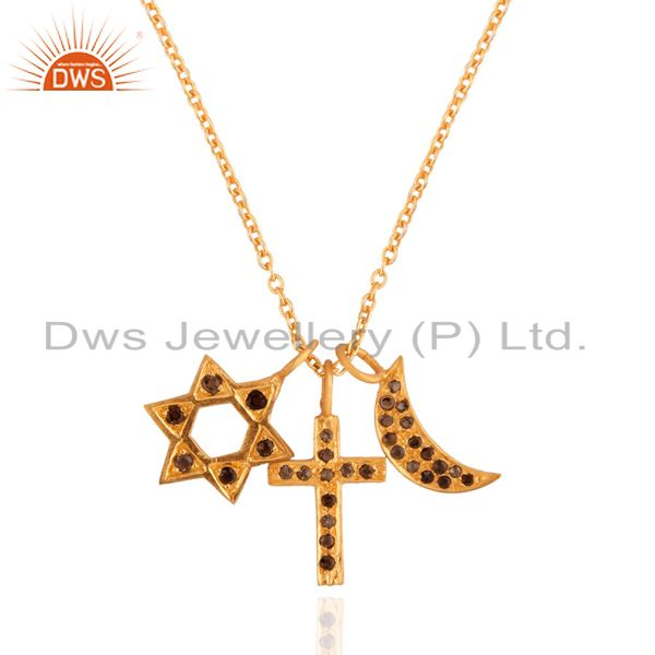 22K Yellow Gold Plated Sterling Silver Smoky Quartz Star, Cross Charms Necklace