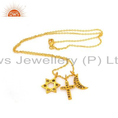 18k Gold Over Sterling Silver Star,Moon & Cross Symbol Fashion Charms Pendant 17