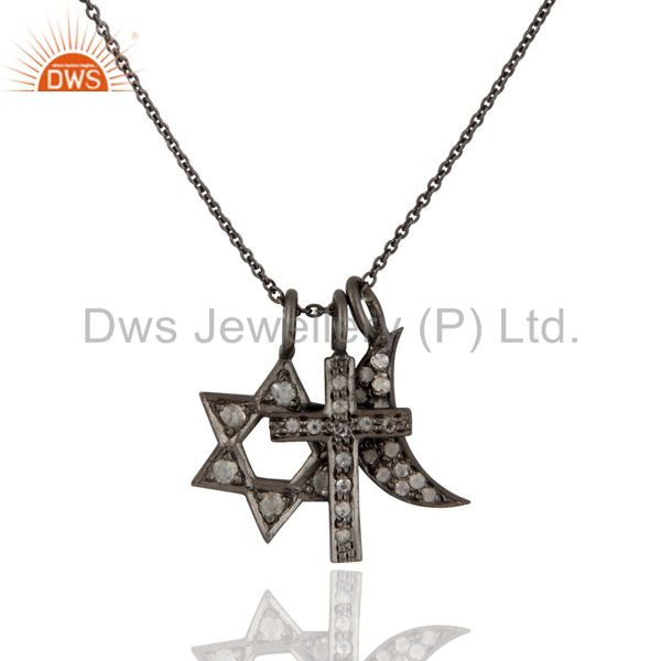 Oxidized Sterling Silver White Topaz Cross, Half Moon And Star Charms Necklace