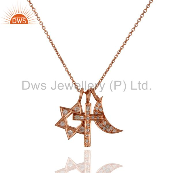 18k rose gold plated silver white topaz cross, half moon & star charms necklace