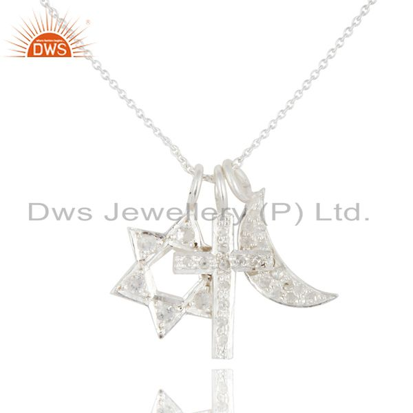 925 sterling silver white topaz star, cross and half moon charm pendant necklace