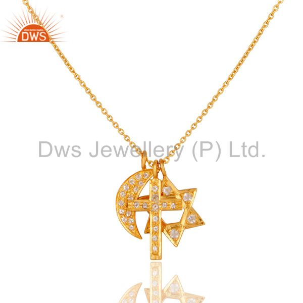 Yellow Gold Plated Silver White Topaz Cross, Half Moon & Star Charms Necklace
