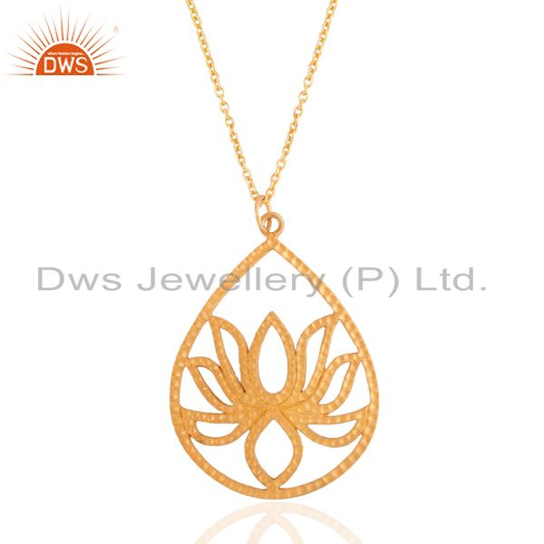 18K Gold Plated Sterling Silver Hammered Lotus Pendant With Chain Necklace