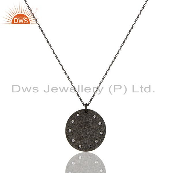 Black Oxidized 925 Sterling Silver White Topaz Chain Pendant Necklace Jewelry