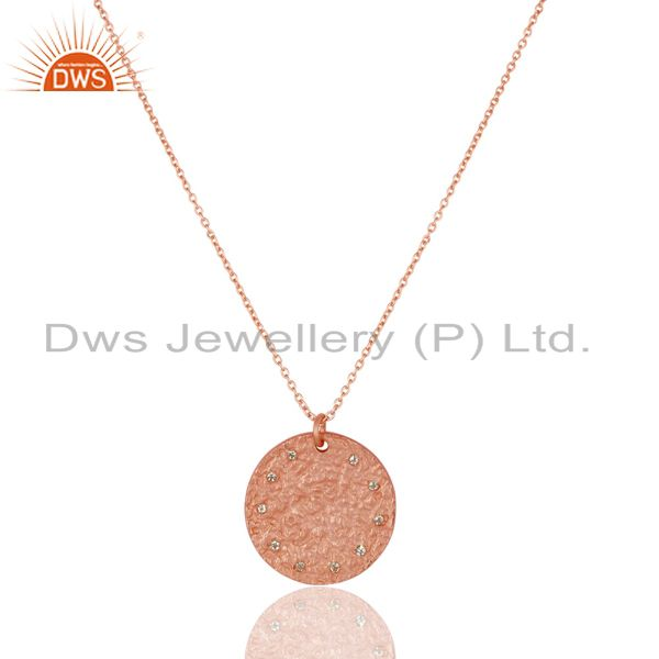 14K Rose Gold Plated 925 Sterling Silver White Topaz Chain Pendant Necklace