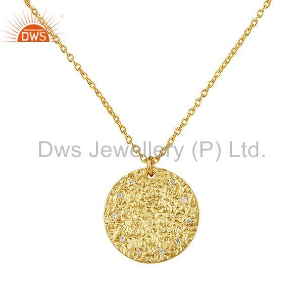 Hammered sterling silver 14k gold plated zircon chain pendant supplier