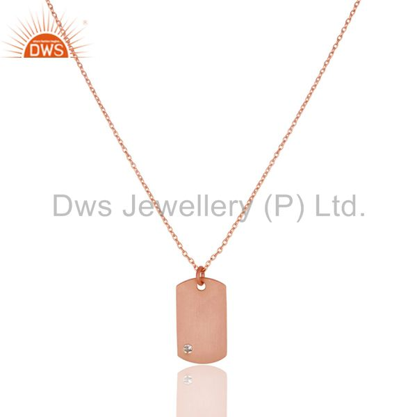 14k rose gold plated 925 sterling silver white topaz chain pendant jewelry