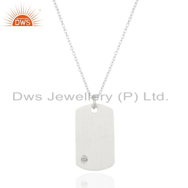 Handmade solid 925 sterling silver handmade white topaz chain pendant jewelry