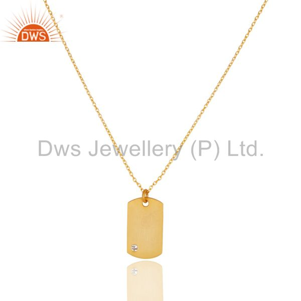 14k yellow gold plated 925 sterling silver white topaz chain pendant jewelry