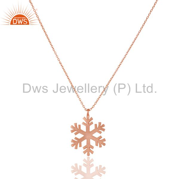 14K Rose Gold Plated 925 Sterling Silver Handmade Art Fashion Chain Pendant