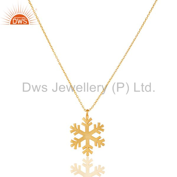 14K Yellow Gold Plated 925 Sterling Silver Handmade Art Fashion Chain Pendant